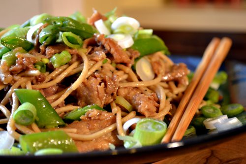 Stir-Fried Pork and Sugar Snaps with Soba Noodles | Full Fork Ahead