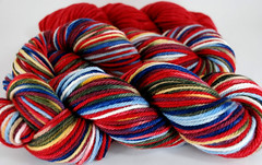 """Red Queen"" 8.9oz Organic Bulky Merino + 2.3oz trim"