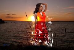 Evasion romantique... (marycherie) Tags: mer de soleil photo femme coucher montage plage