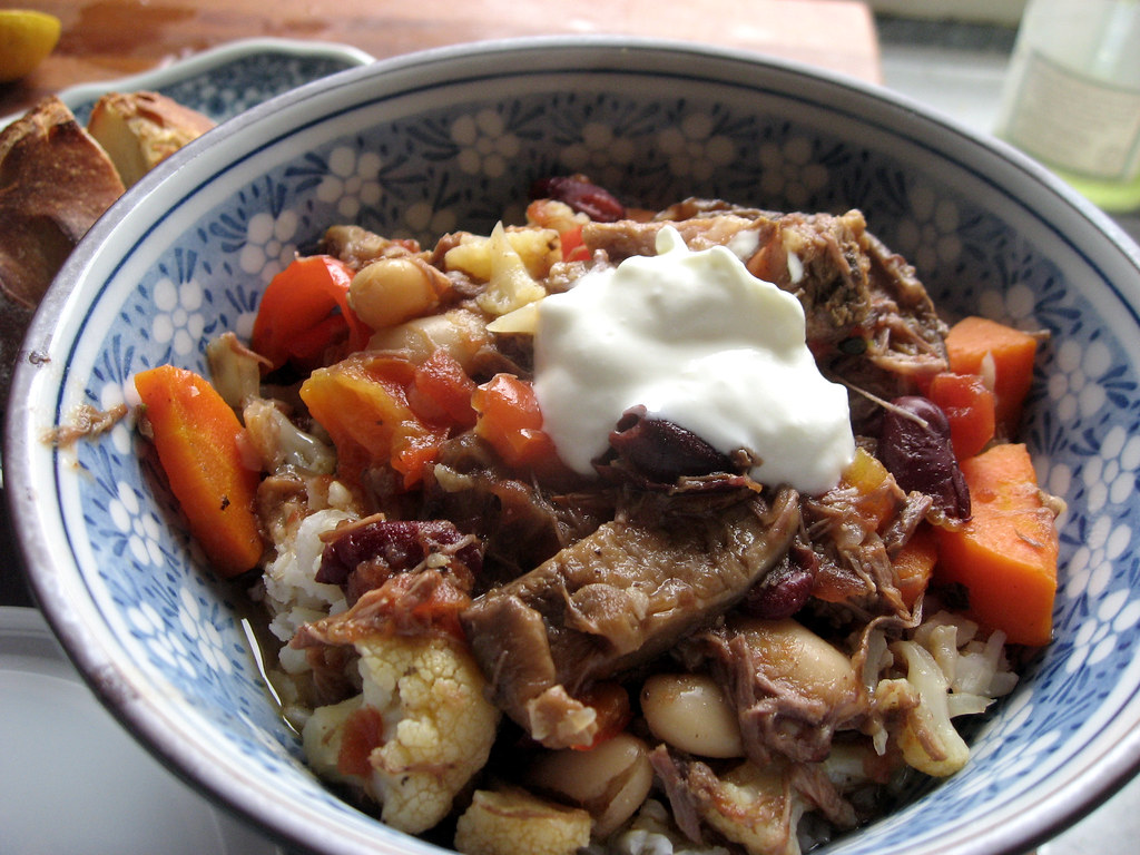 Slow cooked beef stew with greek style yogurt