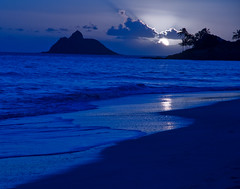 "Kailua Beach Moonrise (IronRodArt - Royce Bair (""Star Shooter"")) Tags: ocean travel blue sea summer vacation sky moon seascape reflection tree beach water beautiful silhouette night landscape island hawaii evening coast sand warm paradise view oahu coconut outdoor dusk background horizon cyan indigo scene romance palm resort exotic moonrise shore tropical destination romantic tropic coastline relaxation tranquil kailua mokulua"