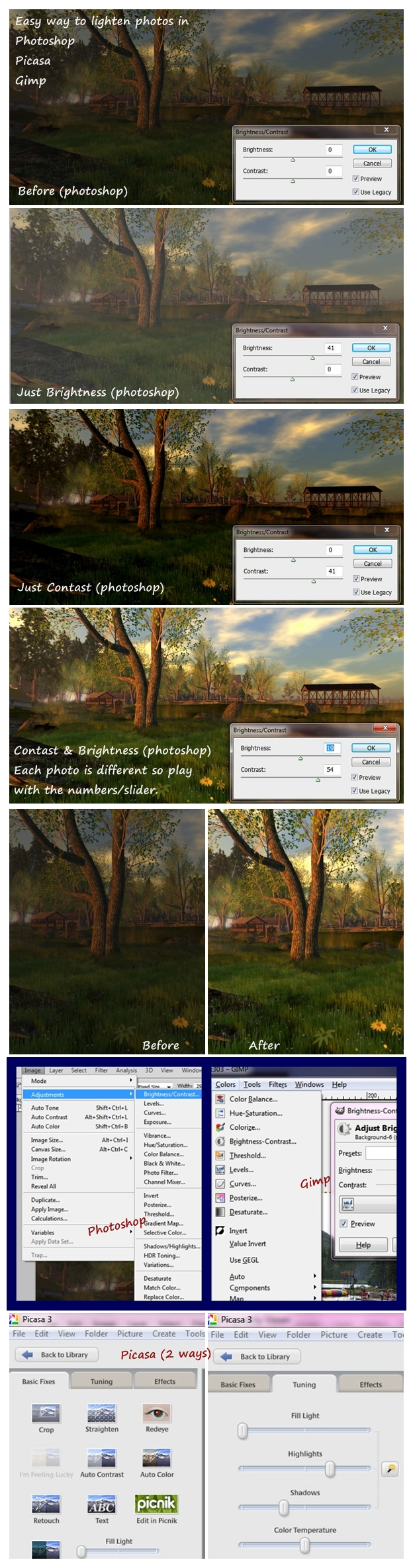 Easy ways to lighten a dark photo in Photoshop, Picasa, Gimp