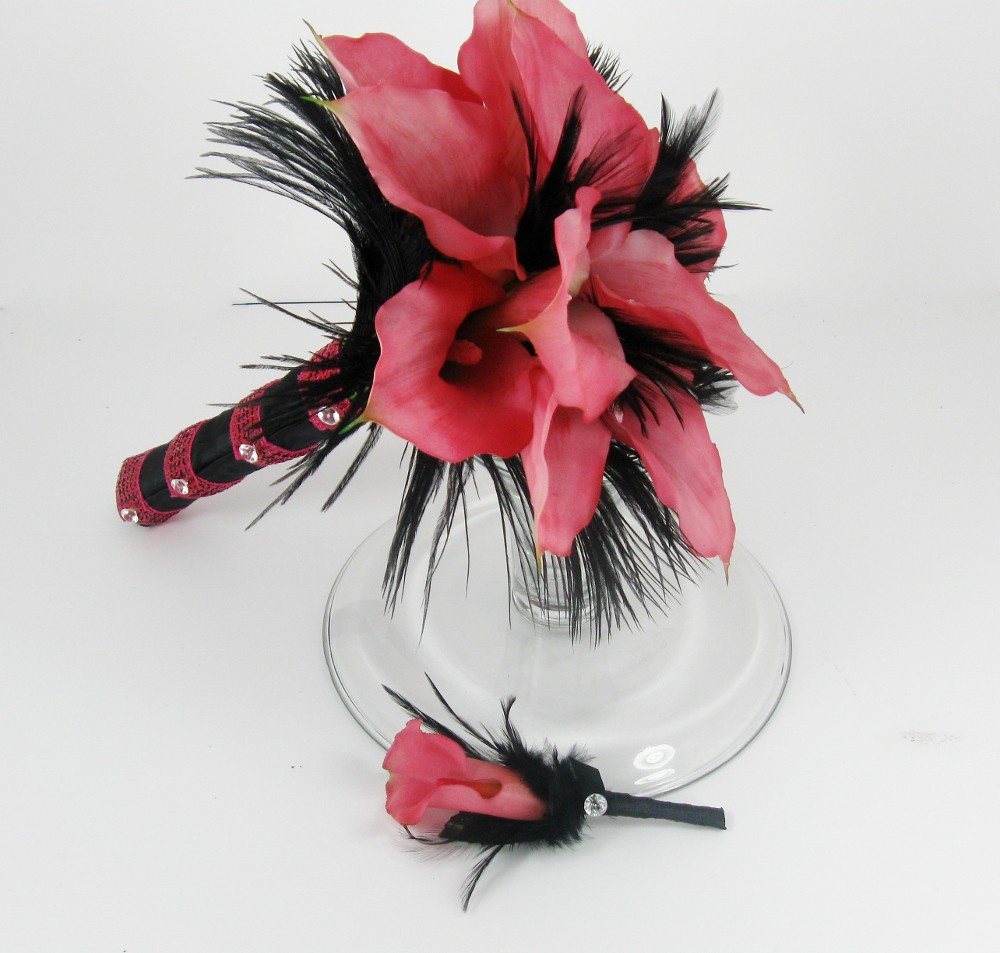 Hot pink real touch calla lily bouquet with feathers
