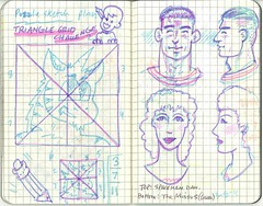 Puzzle notes and faces (Tigrikorn) Tags: art moleskine face grid sketch drawing sketchbook sketches markers squared coloredpencil pocketsketchbook facesketch facesketches