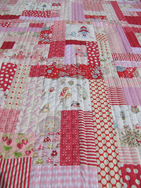 random quilt, pink and red