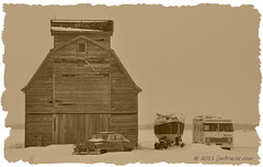 TORCWORI is turning into a junk yard (Jim Frazier (recovering - will be around more)) Tags: wood old winter blackandwhite bw usa snow cold classic cars monochrome car sepia clouds barn sailboat rural buildings landscape boats countryside boat wooden illinois nikon highway automobile scenery cloudy yacht snowy antique decay farm ships country gray shed scenic structures rusty freezing overcast cadillac il vehicles lincoln infrastructure chilly desaturated paintshoppro february rv agriculture frigid classiccars automobiles q3 agricultural rundown rochelle nippy lincolnhighway ogle oldified 2011 d90 oglecounty capturenx nikoncapturenx torcwori ldmarch ©jimfraziercom ld2011