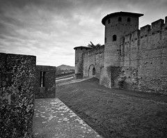 Moat (Bob ) Tags: bw castle medieval southoffrance carcassonne 120mm mamiya7 mamiya43mm carcassonnelanguedocroussillonfr