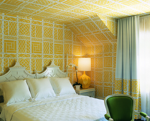 Yellow Wallpapered Bedroom