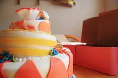 Cake-and-Cookies-2 (Coeur d'Alene Cake) Tags: ri pink flowers orange cute art beautiful yellow cake fun bright alice stripes patterns magenta diamond teacup timburton aliceinwonderland topsyturvy pocketwatch sugarcookies whimiscal fondant sugarart royalicing 3tier beautifulcake