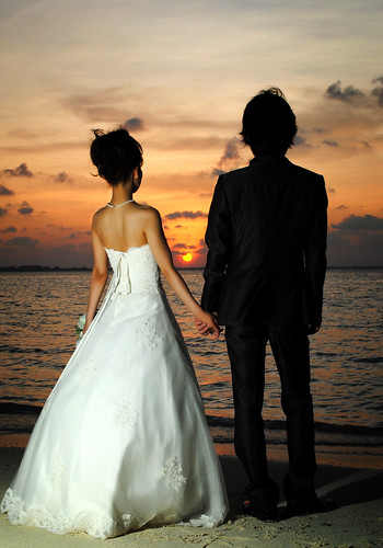 [Free Image] People, Couple, Event/Leisure, Wedding, Sunset, Wedding Dress, Behind, 201103231300