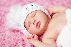 Baby Belle (lsarao) Tags: pink baby white flower girl hat newborn rug asleep
