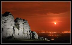 Haytor Moonrise (RattyBoots) Tags: moon night canon dark moonrise 7d dartmoor strobe lightpollution teignmouth haytor flashgun offcameraflash strobist perigeemoon canonex580ii tamron18270