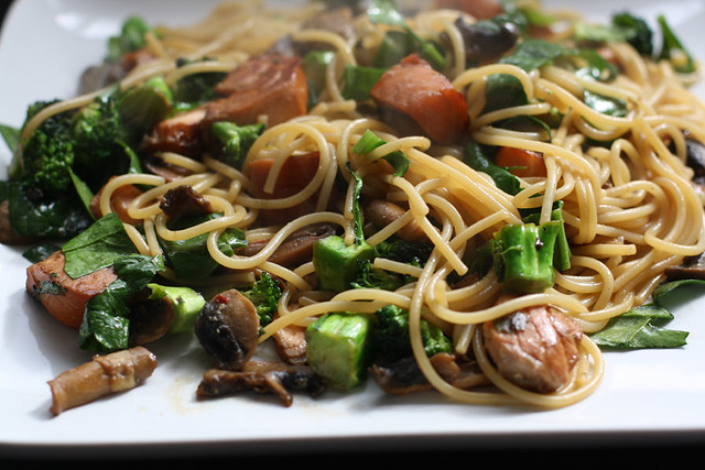 asian inspired pasta, salmon, food blog, syn free, recipe, pescatarian, slimming world
