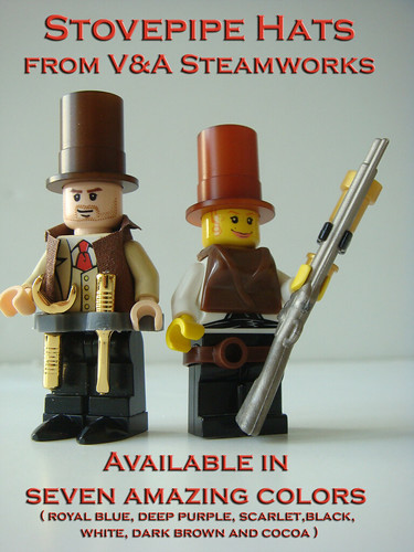 Custom minifig Custom Stovepipe Hats in Dark Brown and Cocoa