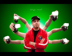 Day 242 - Got you covered! (Daniel | rapturedmind.com) Tags: portrait selfportrait spider arms flash spiderman gadget doctoroctopus odc day242 rimlight greenbackground multilight project365 eightarms strobist canonefs1022 242365 nikonsb80dx ourdailychallenge