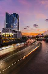 Motion (tterencechung) Tags: sunset landscape twilight singapore cityscape urbanscape clarkequay singaporeriver boattrails