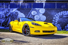 Monicas Corvette with the Octapus in HDR2 from ground level copy (RoryMad Studios) Tags: hdr corvette chevrolet yellow murals shineproject shine stpetersburg florida