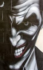 Joker sneer (PDKImages) Tags: art artinthecity manchesterstreetgallery manchester walls murals beauty woman lady girl pretty beautiful skull butterfly bee fish chicks alone joker thejoker sinister sneer hidden ladders checks skyline birds