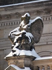 Frozen Angel, Berlin (GothPhil) Tags: winter sculpture snow berlin statue architecture buildings germany december cathedral dome 2010