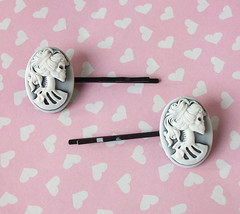 Skeleton Cameo Bobby Pins (Cantankerous Cupcake) Tags: skeleton skull cameo accessories bobbypins hairaccessories hairpins