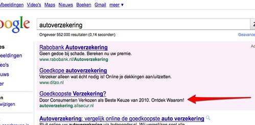 Google AdWords advertentie tekst tussen advertentie titel en zichtbare URL