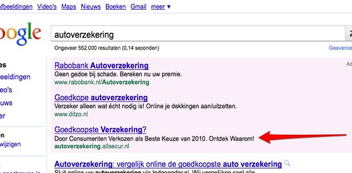 Verandering Google AdWords top advertenties?