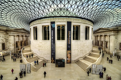 British Museum (4 Colour Progress) Tags: history architecture stairs symmetry britishmuseum crowds hdr glassroof greatcourt nikond90 4colourprogress
