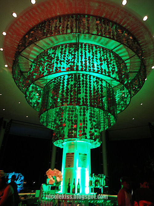 green lighting at seafront bar