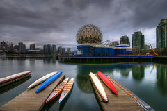 Science World (Brandon Godfrey) Tags: city urban canada water glass colors skyline vancouver clouds docks buildings reflections outdoors photography grey scenery colorful downtown day cityscape colours bc metro cloudy britishcolumbia towers scenic overcast seawall falsecreek pacificnorthwest metropolis colourful condos hdr highdynamicrange touristattraction dragonboats olympicvillage kayaks highrises scienceworld gmplace bcplace lowermainland concretejungle telusworldofscience touristdestinations rogersarena roofunderconstruction