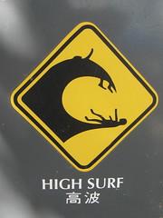 High surf (jkerssen) Tags: signs warning hawaii maui kaanapali westmaui