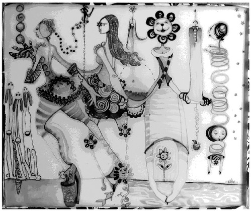 """Julie Ross, """"Joy 5,"""" 2010. Mixed media using ink and resin on canvas."""