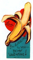Vintage Valentine: Suggestive Banana (pageofbats) Tags: old food fruit vintage weird banana valentine retro card valentinesday vintagevalentine