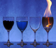 Earth Water Air & Fire (Karen_Chappell) Tags: blue stilllife water glass four fire glasses earth air 4 flame elements