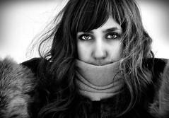 Don't let me go. (Alina Roxana) Tags: winter portrait blackandwhite girl beauty hair bigeyes nikon wind beatrice frozenlook d5000