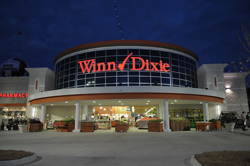 Winn Dixie supermarket entry with produce aisles, Covington, Louisiana