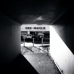 Tru-Mould (Kerrie McSnap) Tags: light blackandwhite bw 120 film mediumformat underpass square blackwhite holga lomo lomography trix toycamera melbourne tunnel kodaktrix cliftonhill kodaktrix400 trumould