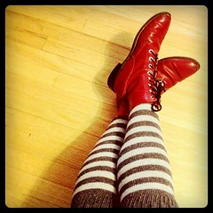 Instagram 365: #40 (exoskeletoncabaret) Tags: red socks vintage square shoes boots stripes squareformat 365 hefe footfetish pointed sockdreams iphone4 iphoneography instagramapp uploaded:by=instagram foursquare:venue=16152322
