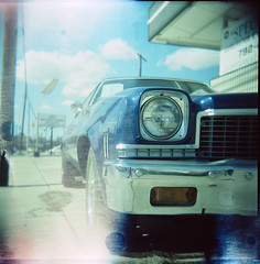 (s myers) Tags: classic chevrolet car mediumformat square holga xpro texas fuji crossprocess tx lightleak plastic chevy format elcamino hunt provia100f 120n top20xpro photoworkssf