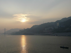 Sunset in Yangtze River (h2ooo2h) Tags: china sunset mountain river hubei yantze