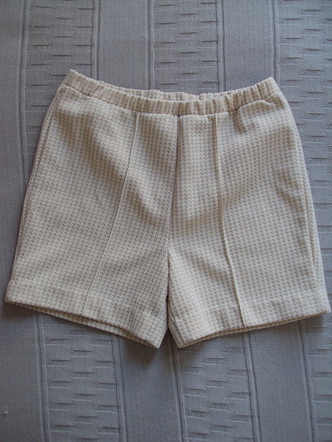 High Waisted Tan & White Vintage Shorts