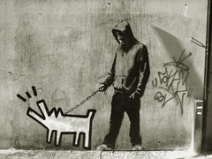 Banksy Choose Your Weapon (Haring Dog) (Ross Holdsworth) Tags: street dog london art stencil banksy keith your weapon choose haring