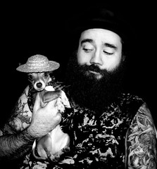 Two Bad Hombres (faith goble) Tags: portrait blackandwhite bw hairy dog chihuahua man male art scarf fur beard miniature intense artist photographer kentucky ky small young hats straw buddy tattoos moustache tiny poet stare writer fedora mansbestfriend pup mustache teacup bowlinggreen firsthand patrickgoble gographix heritage2011 faithgobleart thisisky