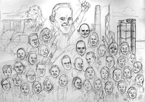 Group caricatures for UBS - pencil sketches