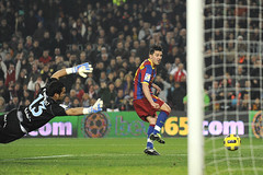 Sergio Asenjo of Malaga (L) is unable to stop David Villa of FC Barcelona (R) scoring his team's fourth goal (ASHISH1987) Tags: barcelona club football spain soccer esp clubsoccer davidvilla soccer|football|soccer sergioasenjo