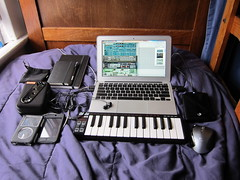 My Portable Music Setup (Alpine425) Tags: music moleskine apple computer studio portable ipod air gear stuff speaker headphones production audio speakers recording 116 akai macbook lpk25