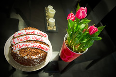 """Our"" Birthday Cake (Kartik J) Tags: california birthday flowers usa cake vase february occasion irvine sonycamera blackforestcake a500 sonydigitalslr sonyalphadslr sal18250 sonydslra500 sonyalphadslra500 kartikjayaraman"