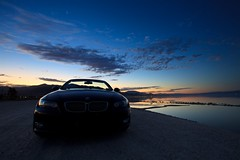 black knight (Eric 5D Mark III) Tags: california longexposure sunset sky usa cloud color reflection water car canon landscape twilight unitedstates wideangle surface gradient vehicle saltonsea bimmer saltonbeachmarina ef1635mmf28liiusm bmw328iconvertible eos5dmarkii