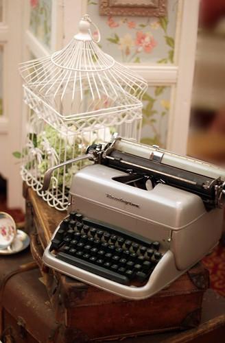 Vintage Bird Cage & Typewriter