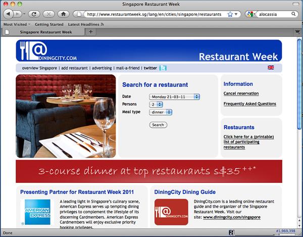 Singapore Restaurant Week 2011