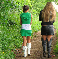 Short Skirts and High Boots (Sandy Leidholdt) Tags: uk girls england english boots travellers teenagers teens cotswolds babes chicas females gals wellies travelers gypsies shortskirts stow stowonthewold cotswold